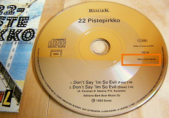 CD single 22 Pistepirkko Collector - Don't say I'm so evil