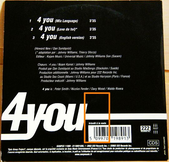 verso pochette du CD Collector 4you