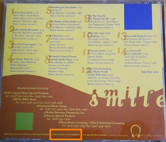 pochette collector verso du CD EMI Music Ressources - Smile