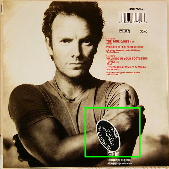 pochette promo verso du 45 tours Collector de Sting - The soul cages