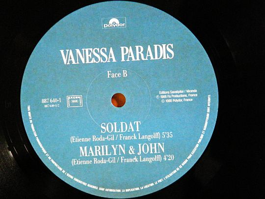 disque vinyle maxi 45 tours promotionnel Collector de Vanessa Paradis - Marilyn et John face B
