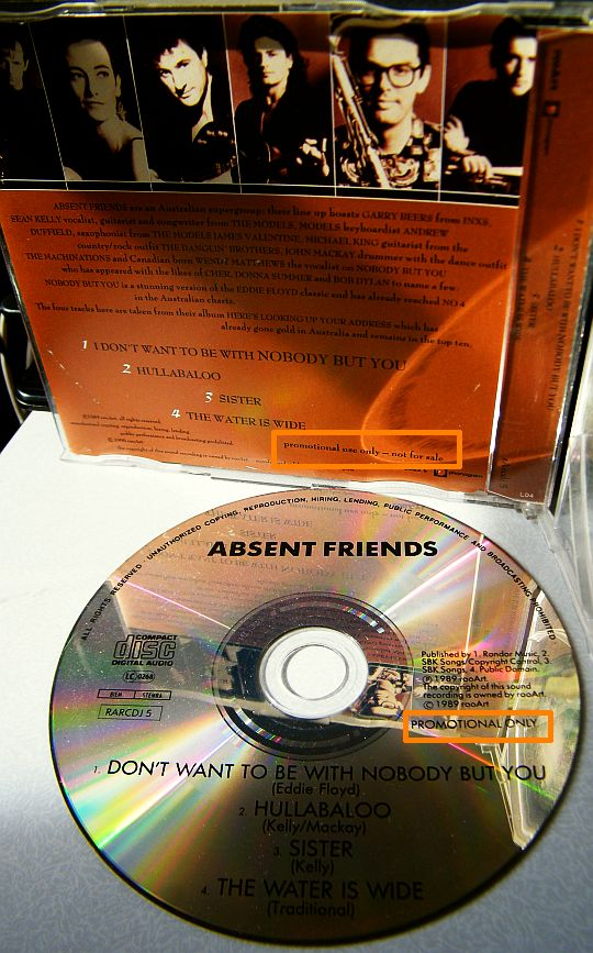 pochette collector verso et CD sampler promotionnel d'Absent Friends
