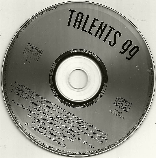 CD sampler hors commerce Talents 99 par l'Adami, la Sacem et le Midem