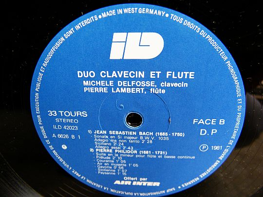 duo clavecin et flûte face B du LP publicitaire d'AIR INTER