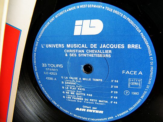 label face 1 du LP promo d'Air Inter avec Jacques Brel
