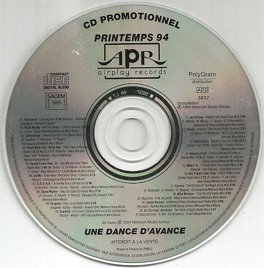 disque compact promotionnel du label Dance AIRPLAY Records printemps 94