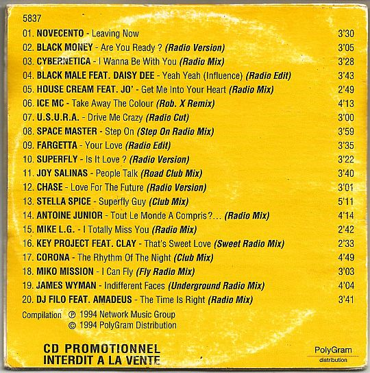 verso du CD Collector sampler promo Airplay Records printemps 94