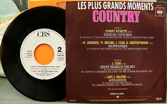 verso du EP promo Collector d'American Ballads - Les plus grands moments Country