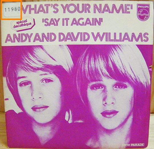recto du 45T Collector d'Andy et David Williams - What's your name