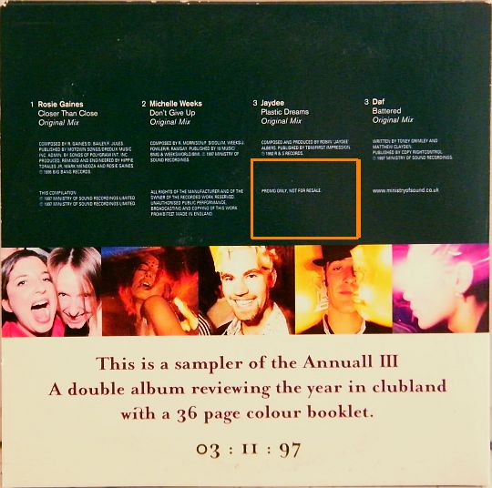 verso pochette Collector The Annual III - Ministry of Sound 1997