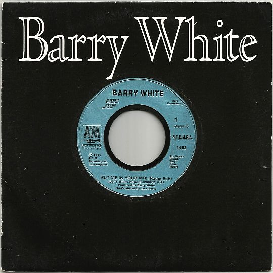 pochette et label central du 45t hors commerce de Barry White - Put me in your mix