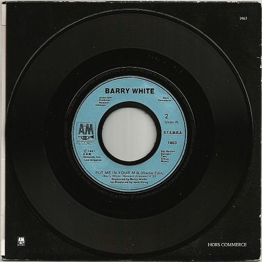verso de la pochette et du 45t promo Collector de Barry White - Put me in your mix