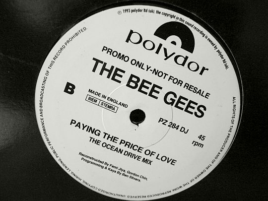 face B du maxi Collector promo des Bee Gees - Paying the price of love
