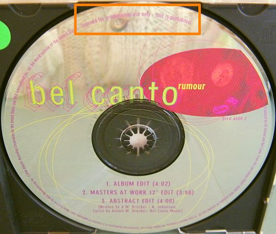 CD promo US de Bel Canto - Rumour