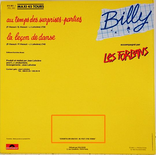 verso pochette Billy Au temps des surprises parties