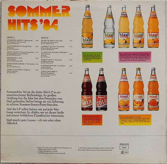 verso de la compilation Collector Bizzl Sommer Hits 84