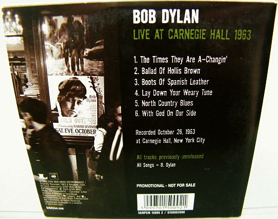 verso du CD sampler Collector promo de Bob Dylan Live at Carnegie Hall 1963