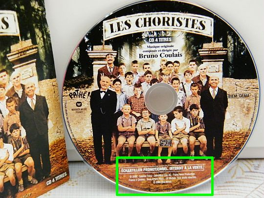 CD promotionnel Collector échantillon gratuit des Choristes par Bruno Coulais
