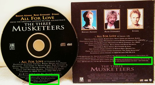 CD promo Collector monotitre de Bryan Adams, Rod Stewart et Sting - All for love, the three musketeers