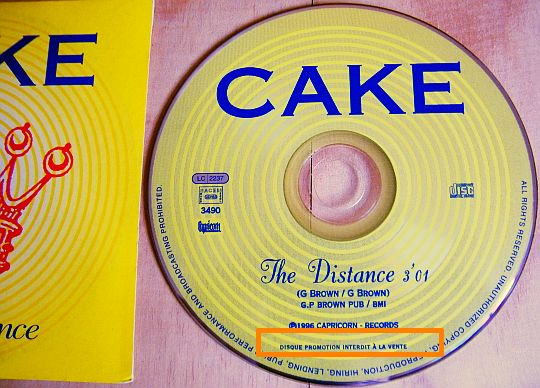 cd monotitre promo de CAKE - The distance