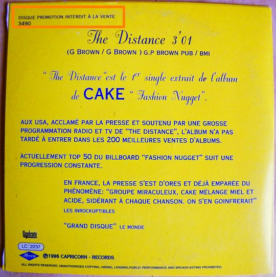 verso du cd promo The distance par CAKE