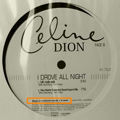 pochette verso de Céline Dion - maxi 45- I drove all night
