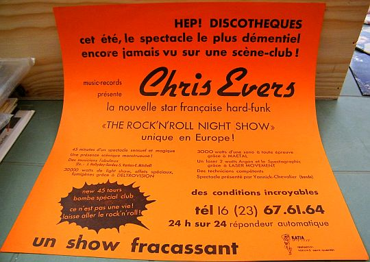flyer promo orange de Chris Evers, la nouvelle star hard-funk, pour the rock'n'roll night show