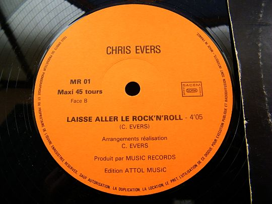 face B du maxi de Chris Evers - Laisse aller le rock'n'roll