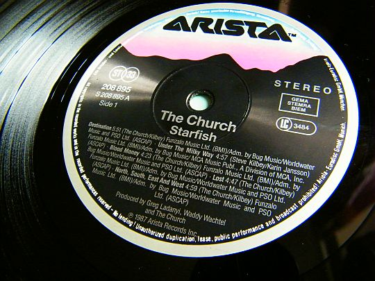 label central du LP promo Collector Starfish par THE CHURCH