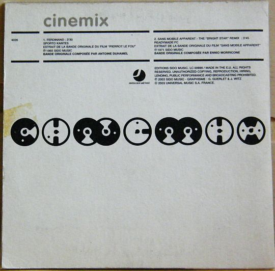 verso pochette du CD Collector Cinémix