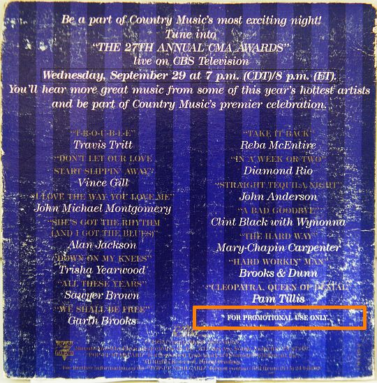 pochette collector verso des CMA Awards 93