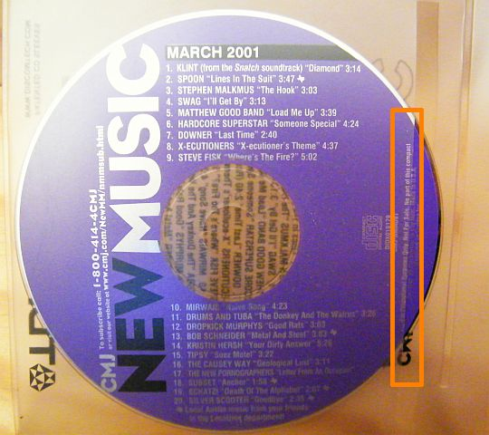 CD sampler 91 CMJ New Music, march 2001