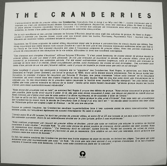verso du feuillet promo des Cranberries pour No need to argue