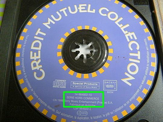 CD hors commerce de la compilation Crédit Mutuel Collection