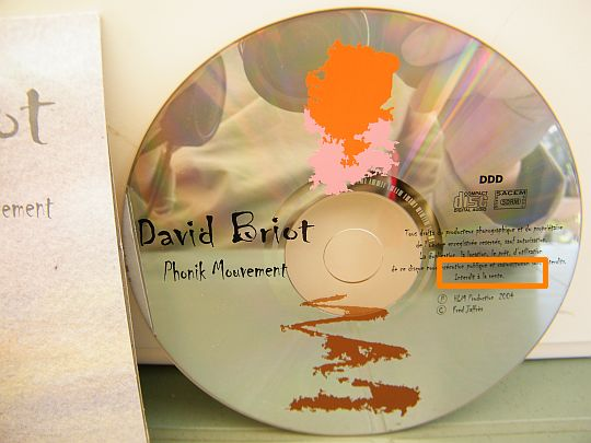 CD promo de David Briot - Phonik mouvement