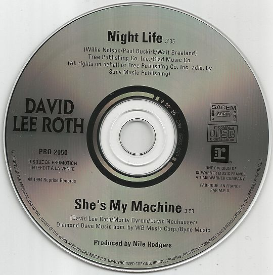 CD promo interdit à la vente de David Lee Roth - Night life / She's my machine