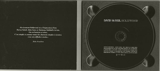 dépliant intérieur du CD monotitre promo de David McNeil - Hollywood