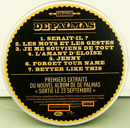 CD collector De Palmas, pochette verso