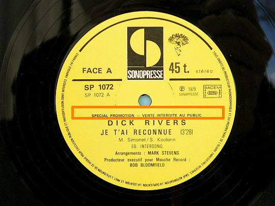 face A du maxi 45t Collector Je t'ai reconnue par Dick Rivers