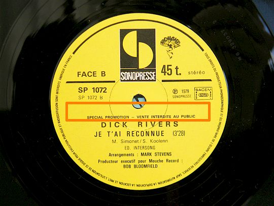 face B du maxi 45t Collector Je t'ai reconnue par Dick Rivers
