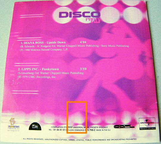 verso du CD sampler Collector DISCO PARTY
