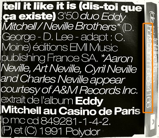 verso CD Eddy Mitchell Neville Brothers
