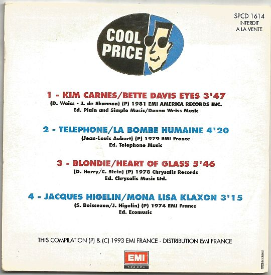 verso de la compilation EMI Cool Price Les authentiques