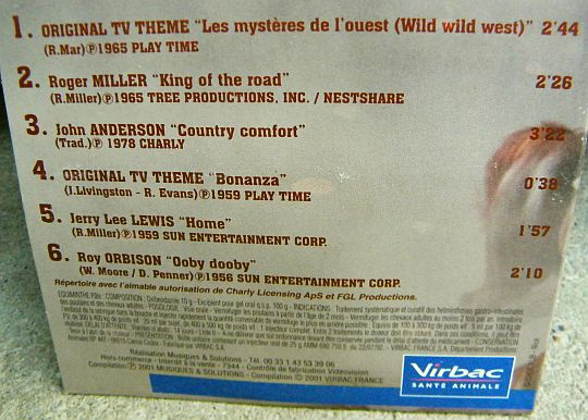 verso de la compilation hors commerce Equiminthe Country Music