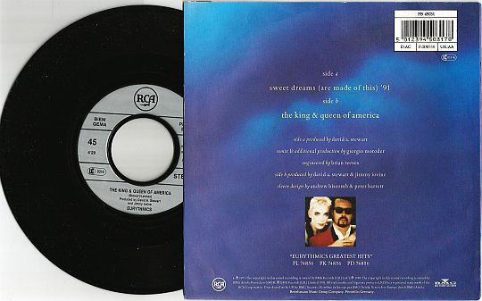 face B et 45 tours promo revente interdit d'Eurythmics - The king and queen of america
