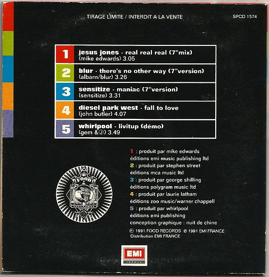 verso du CD Collector sampler promo en tirage limité du label Food Records