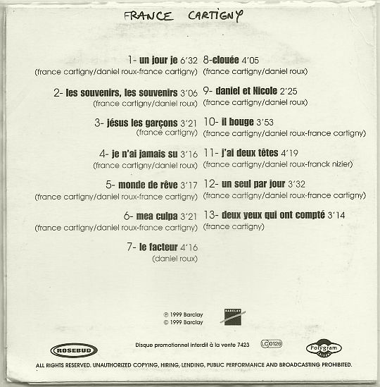 verso du CD sampler promotionnel éponyme de France Cartigny