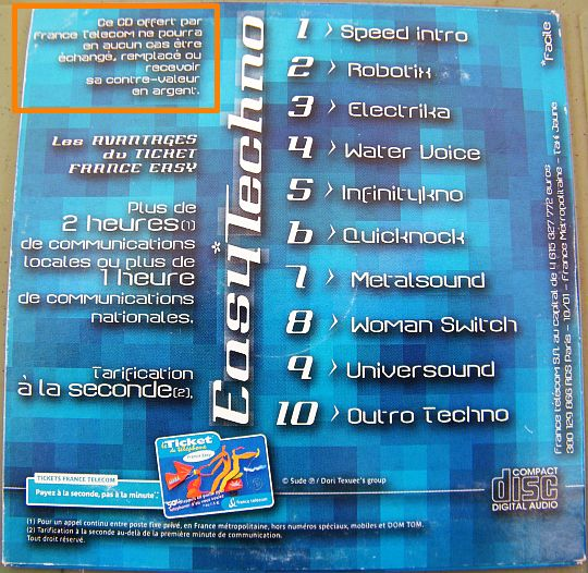 verso du CD sampler promo Collector Easy techno par FT