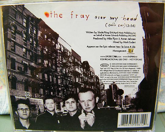 verso du CD monotitre promotionnel collector Over my head (cable car) de The Fray