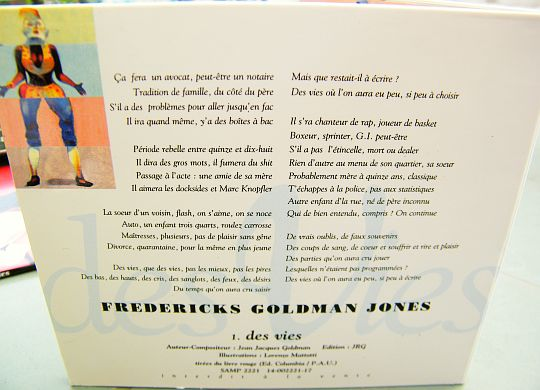 verso du sampler monotitre promotionnel collector de Fredericks Goldman Jones - Des vies